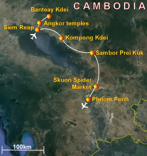 Trip to Cambodia visiting Angkor temples and other attractions – Cambodia Tourist Attractions Map